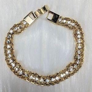 Jewelry - Gold & Rhinestone Tennis Bracelet